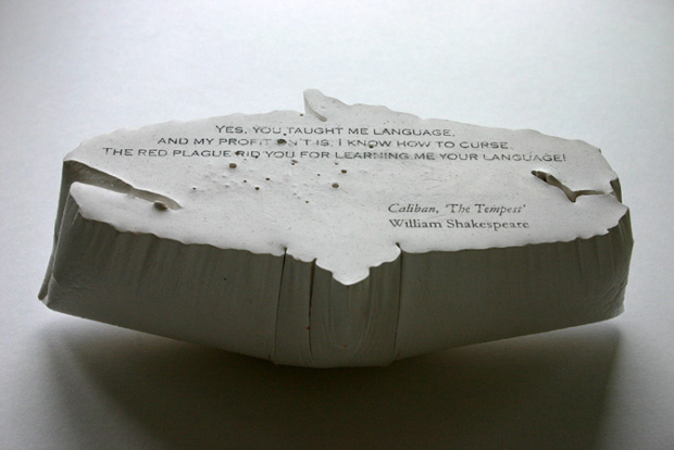 Benua Dalam/Inner Continents: Caliban (Shakespeare), 2005, Plaster, pigment and photocopy transfer.