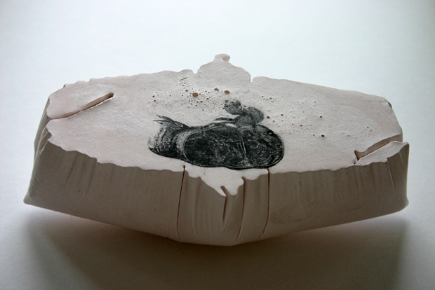 Benua Dalam/Inner Continents: Colon (Gray's Anatomy), 2005, Plaster, pigment and photocopy transfer.