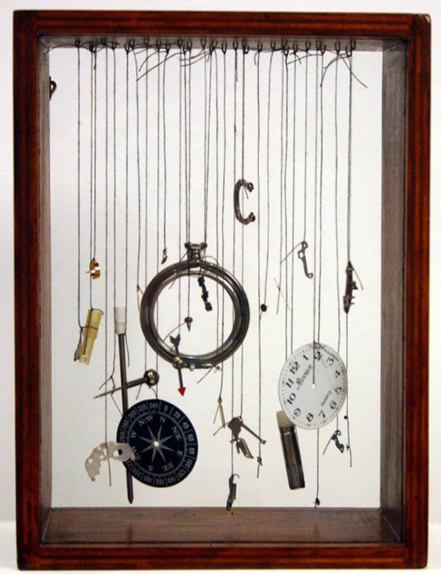 Instruments of Desire, 2006, Components of a pen, pocket watch and compass, thread, wooden box.