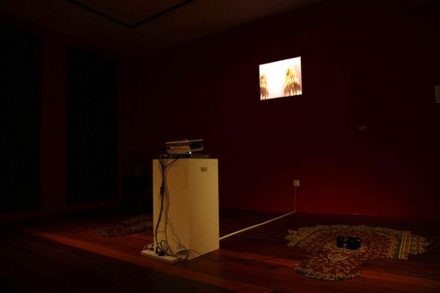 Pole Positions, 2007, Installation with mobile phone video, sound and carpets.