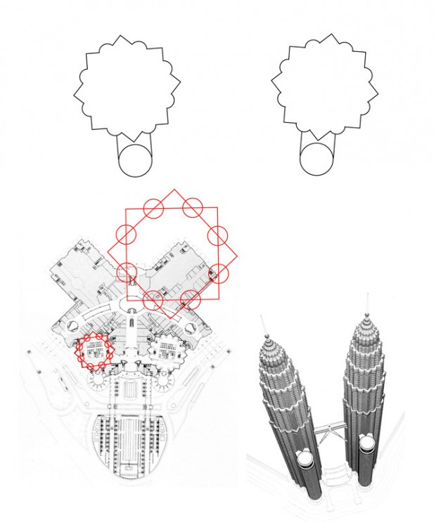 Concept sketch showing the floorplate of the Twin Towers, which is based on Islamic geometry of two interlocking squares.