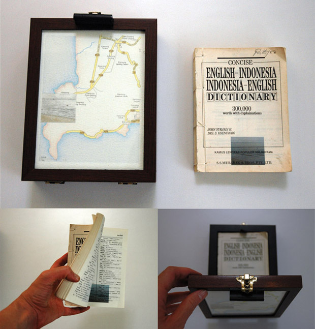 Pocket Seas: Pantai Pasir Panjang, 8:30am - Indonesian, 15.0cm x 19.0cm, Hand drawn map (graphite, color pencil and charcoal on paper), wooden box, hand-bound old dictionary printed with images transferred from mobile phone video.