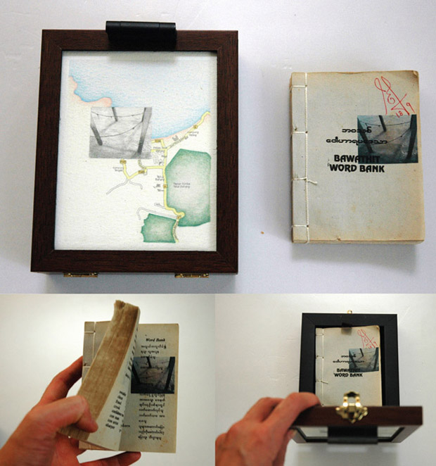 Pocket Seas: Teluk Bahang, 10:00am – Bawathit Word Bank, 13.0cm x 16.0cm, Hand drawn map (graphite, color pencil and charcoal on paper), wooden box, hand-bound old dictionary printed with images transferred from mobile phone video.