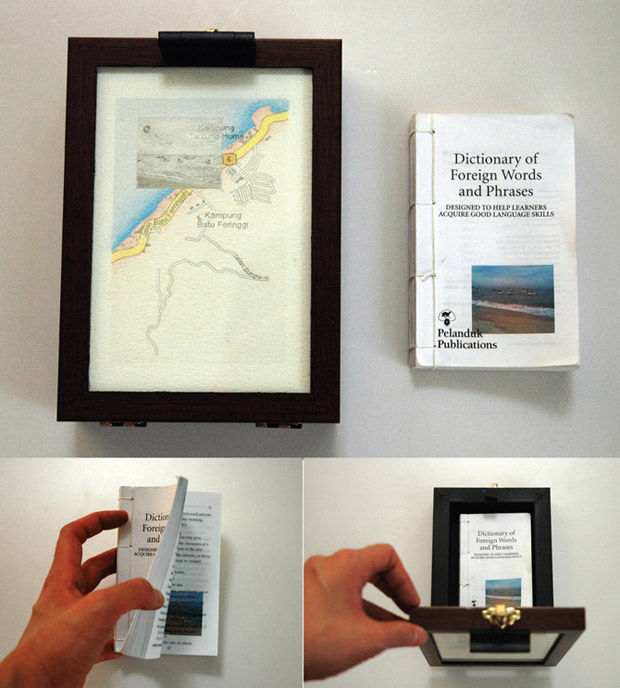 Pocket Seas: TBatu Ferringhi, 11:00am – Foreign Words, 13.0cm x 18.0cm, Hand drawn map (graphite, color pencil and charcoal on paper), wooden box, hand-bound old dictionary printed with images transferred from mobile phone video.