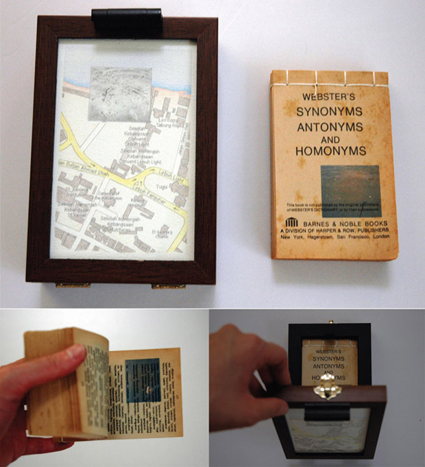 Pocket Seas: Convent Light, 12:30pm – Synonyms & Antonyms, 12.0cm x 16.0cm, Hand drawn map (graphite, color pencil and charcoal on paper), wooden box, hand-bound old dictionary printed with images transferred from mobile phone video.