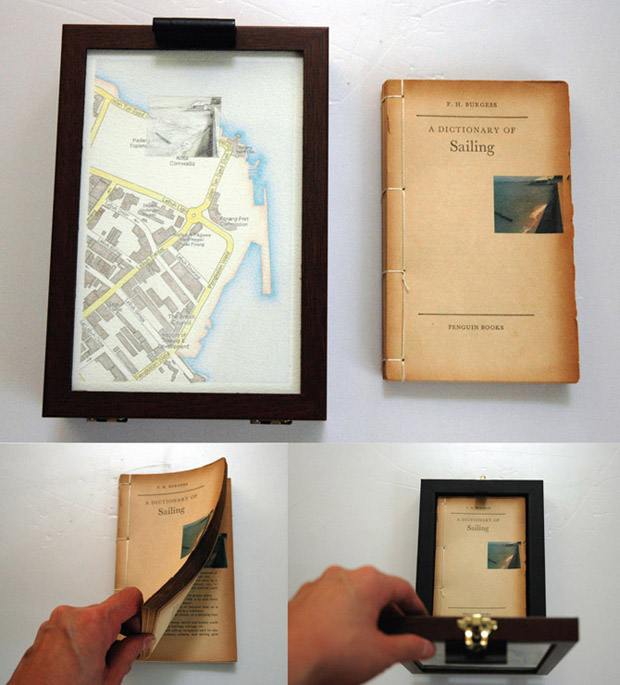 Pocket Seas: Fort Cornwallis, 1.40pm – Sailing, 15.0cm x 22.0cm, Hand drawn map (graphite, color pencil and charcoal on paper), wooden box, hand-bound old dictionary printed with images transferred from mobile phone video.
