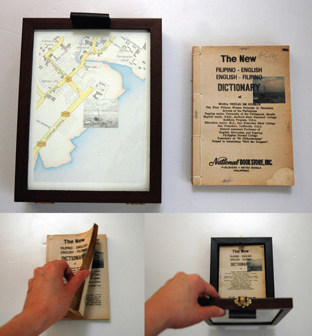 Pocket Seas: Lebuh Sungai Pinang, 2:00pm – Filipino, 16.5cm x 22.0cm, Hand drawn map (graphite, color pencil and charcoal on paper), wooden box, hand-bound old dictionary printed with images transferred from mobile phone video.