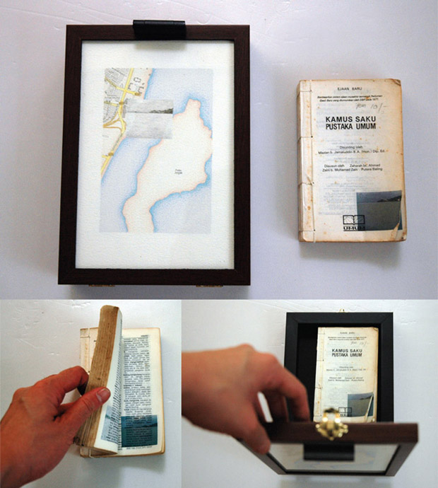 Pocket Seas: Queensbay Mall, 4:25pm – Malay, 16.0cm x 22.5cm, Hand drawn map (graphite, color pencil and charcoal on paper), wooden box, hand-bound old dictionary printed with images transferred from mobile phone video.