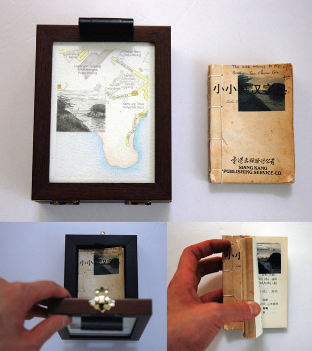 Pocket Seas: Batu Maung, 4:45pm – Chinese, 11.5cm x 14cm, Hand drawn map (graphite, color pencil and charcoal on paper), wooden box, hand-bound old dictionary printed with images transferred from mobile phone video.