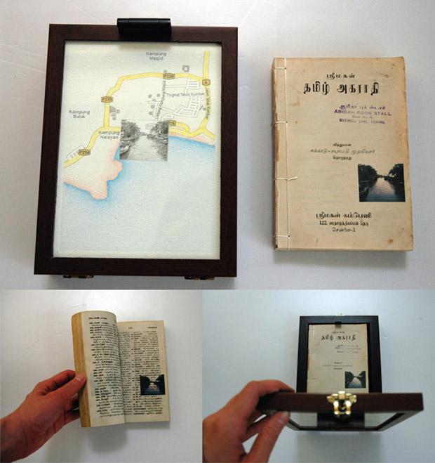 Pocket Seas: Teluk Kumbar, 5:15pm – Tamil, 16.0cm x 21.0, Hand drawn map (graphite, color pencil and charcoal on paper), wooden box, hand-bound old dictionary printed with images transferred from mobile phone video.