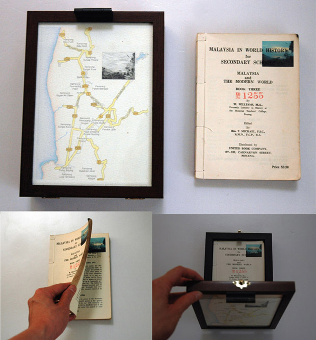 Pocket Seas: Balik Pulau (Malihom), 6:55pm – Textbook, 17.0cm x 22.5cm, Hand drawn map (graphite, color pencil and charcoal on paper), wooden box, hand-bound old dictionary printed with images transferred from mobile phone video.