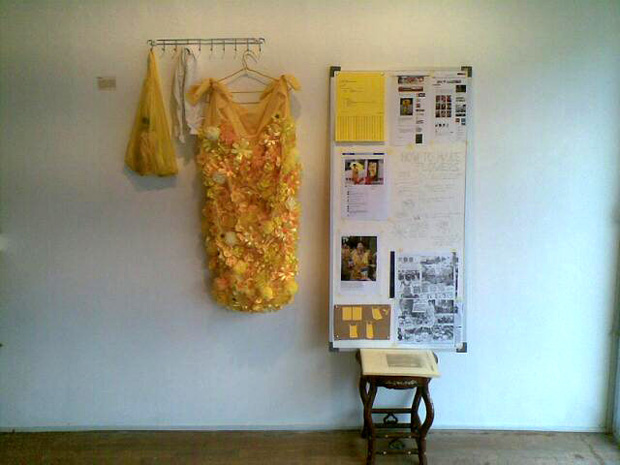 The dress and an information board about it was exhibited in a gallery as part of Esquire Malaysia's Media Art Project.