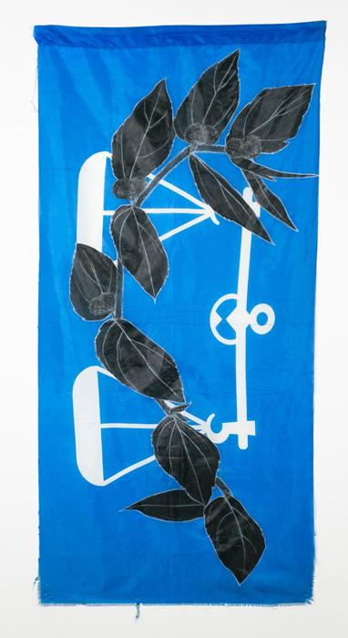 Weeds Series #2: Ambin Jantan, 75cm x 154cm, Fabric paint and wax crayon on polyester flags