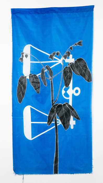 Weeds Series #5: Unknown II, 75cm x 154cm, Fabric paint and wax crayon on polyester flags