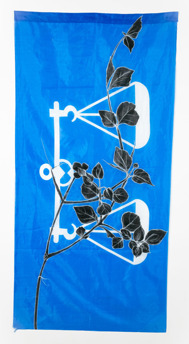 Weeds Series #7: Unknown III, 75cm x 154cm, Fabric paint and wax crayon on polyester flags