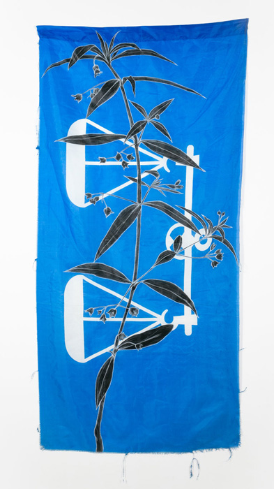 Weeds Series #8: Unknown IV, 75cm x 154cm, Fabric paint and wax crayon on polyester flags