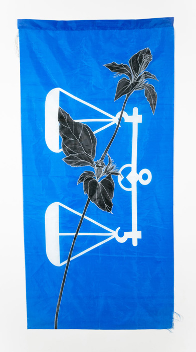 Weeds Series #10: Fireweed, 75cm x 154cm, Fabric paint and wax crayon on polyester flags
