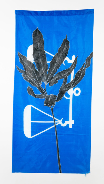 Weed Series #11: Unknown V, 75cm x 154cm, Fabric paint and wax crayon on polyester flags