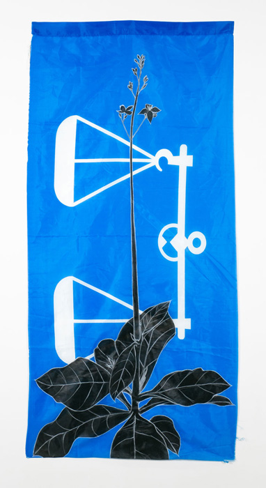 Weeds Series #13: Kopi Utan, 75cm x 154cm, Fabric paint and wax crayon on polyester flags