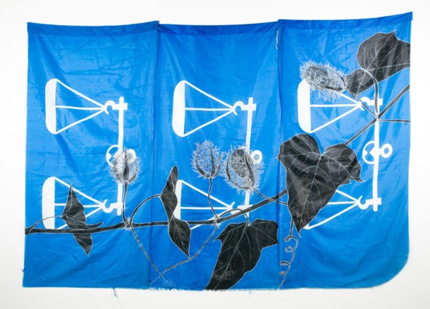 Weeds Series 14: Letup-letup, 225cm x 75cm, Fabric paint and wax crayon on polyester flags