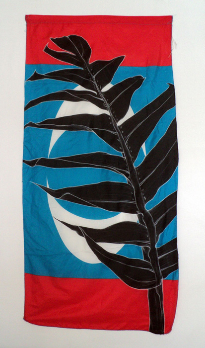 Weeds Series #15: Creeping Philodendron, 75cm x 154cm, Fabric paint and wax crayon on polyester flags