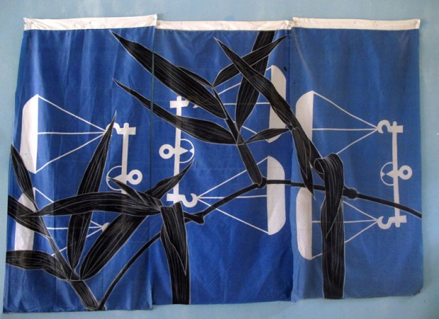 Weeds Series #1: Rumput Parit, 225cm x 170cm, Fabric paint and wax crayon on polyester flags