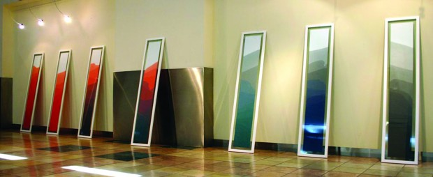 Paper Shores I - VII, 2006, Paper dipped in dye and sea water, 20cm x 150cm each (unframed).