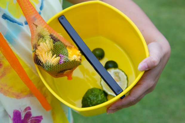 Ingredients in the flower bath: 3 types of chrysanthemum flower, kaffir lime and leaves, calamansi lime, pomelo leaves. Photo by Shirley Ng. All Rights Reserved.