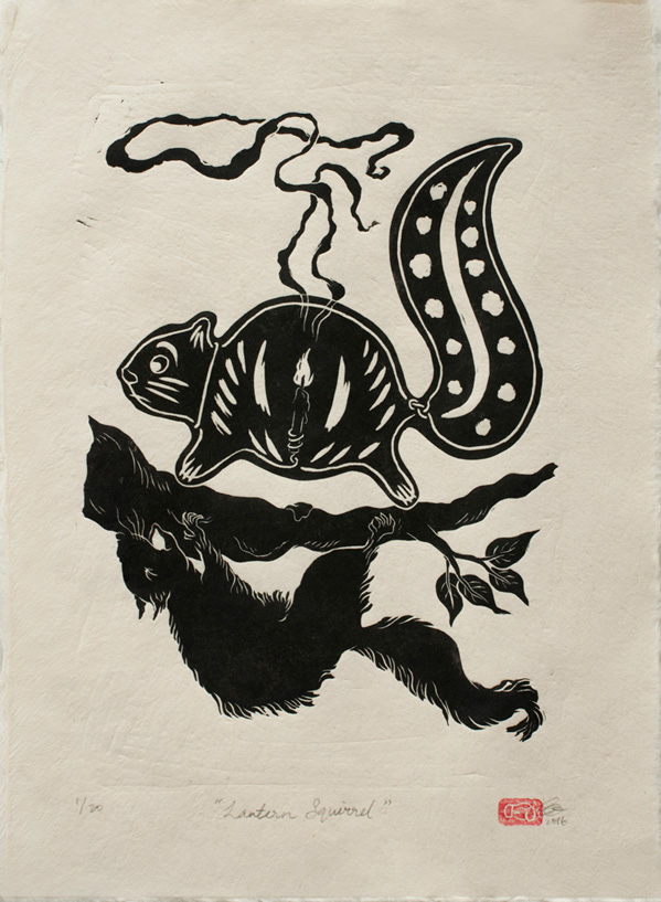 Lantern Squirrel, 2016, Linocut print on Thai mulberry paper, Edition of 20, 39 x 29cm